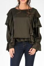 Crew Neck Casual Tops & Shirts for Women with Ruffle