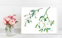 Mistletoe Branches, Watercolor Original, flower, floral,  botanical, gift