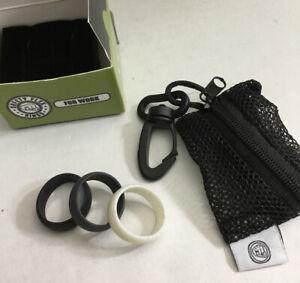Safety Flex Silicone Wedding Rings 3 Pc Size 10 NEW Black, Gray, White Unisex