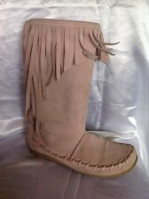 Dolcis Pink Mid Calf Suede Boots Size 8