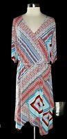 RAFAELLA Plus Size 2X Shift Dress Red White Blue Geometric Short Sleeve Midi