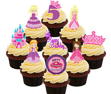 5th Birthday Princess Edible Cup Cake Toppers, 36 Standup Fairy Decorations Girl