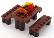 LEGO Picknick Tisch mit Park Bänken, Tasse, Banane und Croissant, Neu