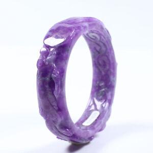 59mm Chinese fashion Hand-carved  Eggplant Purple Jadeite Jade Bracelet Bangle