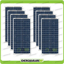Set 8 Pannelli Solari Fotovoltaici 30W 12V multiuso Pmax 240W Baita Barca