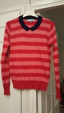 Dickins & Jones Red & Pink Striped Wool Mix Jumper, Navy Mock Collar sz M 12-14