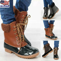 Womens Winter Warm Fur Lined Mid-Calf Boots Lace Up Zipper Duck Boots Shoes Size