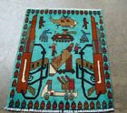 Classic Piece of Afghan war rug showing Helicopter, weapons. missile