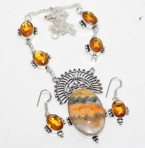 Bumble Bee Jasper Citrine 925 Sterling Silver Plated Necklace Earrings Set GW