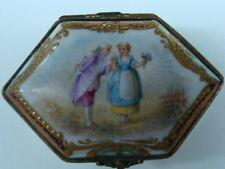 Antique Sevres Porcelain & Bronze Mounted Romantic Scene Trinket Box