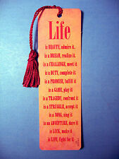 """LIFE is Beauty Admire It""  Poem on a Tassel Bookmark (magenta tassel)-Sku# 853"