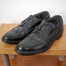 Vintage Hanover Black LEATHER Soles Brogue Oxford WINGTIPS Mens Shoes 8.5D 42