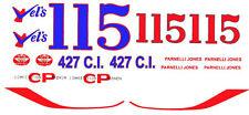#115 or #15 Parnelli Jones Vels 1967 White Fairlane 1/64th Ho Slot Car Decals