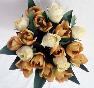 WEDDING POSY BOUQUET, HAND TIED TULIPS & IVORY ROSES