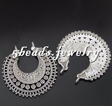 8PCS Antiqued Silver Alloy 38*37*4 mm One-sided Half moon Pendant Charms 50633