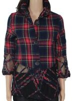 Damee Inc Women's Jacket Red 2X Plus Plaid Mesh Illusion Button Front $188 #523