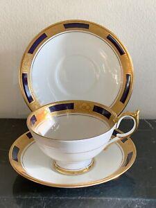 Aynsley China Empress Cobalt 1 Cup and 2 Saucers