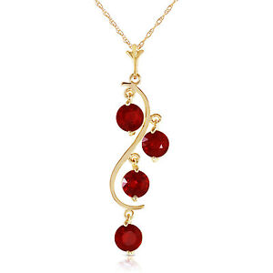 """2 CTW 14K Solid Gold Chain Genuine Ruby Necklace Pendant 18"""""""