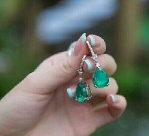 1.15 Ct Pear Cut Emerald & Diamond 14K White Gold Over Dangle LeverBack Earrings