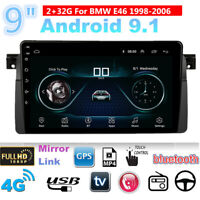 For BMW E46 Sedan Coupe Convertible 9'' Android 9.1 Car Stereo Radio GPS 2+32GB