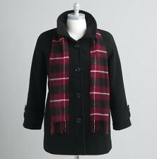 Women's outerwear winter black wool blend swing coat jacket plus size 1X 2X $200