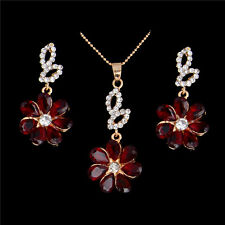 Elegent Women Flower Rhinestone Chain Necklace Pendant Earrings Jewelry Set