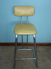 Rare Vintage Retro 1950's Mustard Yellow Barber Shop Stool Vinyl Metal Chair
