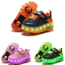 USB Luminous Sneakers Led Glowing Light Up Roller Skate Shoes for Boys Girls