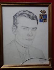 Portrait d'un jeune aristocrate, armoiries, dessin sur papier, signé, daté 1928