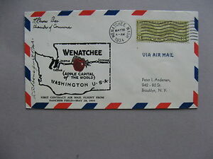 USA, eventcover 1934, first airmail fligt to Wenatchee, Appel Cap. of the World