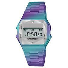 Sport Metal Band Watch Metal Case Crystal Cut LCD Display Men Women Wristwatch