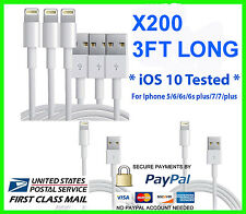 200X USB Charger Cable Cord Compatible to charge iPhone X 8/7+ 3FT Wholesale Lot