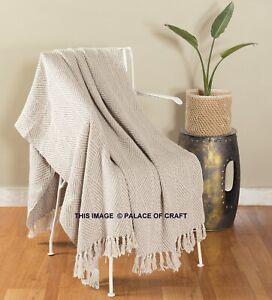"Beige Luxurious Soft Cotton Sofa Bedding Couch Blanket Throw Boho 62"" X 50"" Inch"