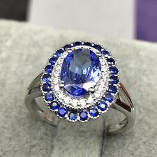 Solid 18k White Gold 1.87ct 100% Natural Tanzanite Sapphire Diamond Fine Ring