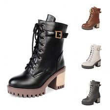 New Fashion Womens Lace Up Buckle Martin Boots Chunky High Heels Leather Shoes