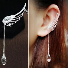 Occident Style Fairy Angel Wing Ear Clip Crystal Chain Earring Dangle Drop Gifts