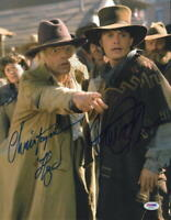MICHAEL J FOX CHRISTOPHER LLOYD SIGNED BACK TO THE FUTURE 11X14 PHOTO PSA LOA B