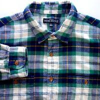J Crew Slim Fit Flannel Shirt Men's Large Tartan Plaid Blue Green K1432 Cotton