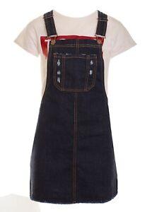 Women's Denim Dungaree Pinafore Dress Pib Pocket Rigid Denim Shift Dress Indigo