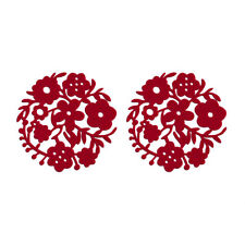 Set of 2 Dining Placemats Flower Design Red Felt Plate Pad Table Décor