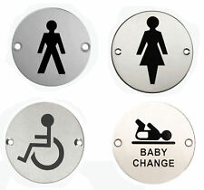 """3"""" Stainless Steel WC Toilet Door Signs Symbol MALE FEMALE DISABLED BABY CHANGE"""