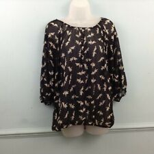 Femme Collection Womens Blouse top sheer black white doves UK XXL loose flowy