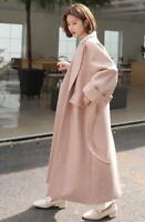 Womens Thicken Wool Blend Full Length Maxi Trench Coat Outwear Oversize Overcoat