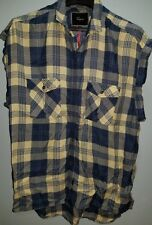 Rails for free people plaid shirt Small S rayon short sleeves blue cream