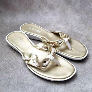 Sam & Libby Womens Sz 8 M Gold Thong Sandals Flats
