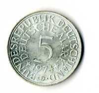 Moneda Alemania 1974 D 5 marcos plata .625 silver coin Deutsche Marck