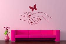 Wall Decal Vinyl Sticker Bedroom hands manicure nail salon butterfly cute bo2782