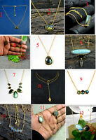 925 Sterling Silver Gold Plated Natural Gemstone Labradorite Necklace MN3579