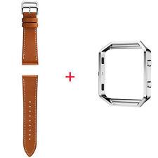 Genuine Leather Watch Band Wrist Strap Bracelet+Metal Frame For Fitbit Blaze Kit