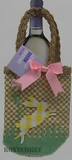 Food Network Easter Brown Basket Wine Bottle Cover with a Bunny NWT